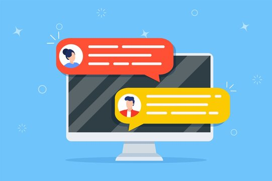 Hand holds smartphone. Online chat messages text notification on mobile phone. Icons, text messages, messages, notifications fly out of the screen. Vector illustration in flat style
