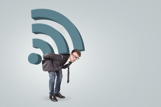 Man burdened by a large wifi icon on his back