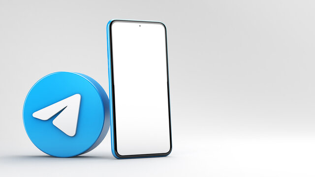 Valencia, Spain - February, 2021: Telegram app icon with mobile phone mockup isolated on a white background in 3D rendering. Telegram is an online social media network. Social media messaging app