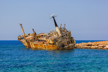 Old ship wreck near coast - Paphos Cyprus