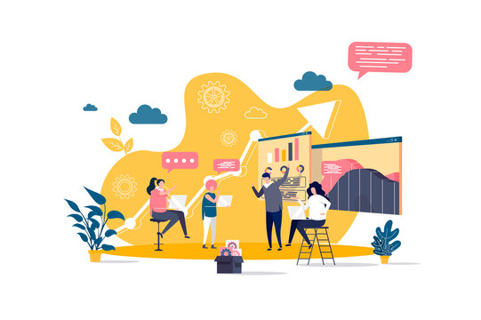 Business meeting concept in flat style. Business team discussing project with charts scene. Partnership and teamwork collaboration banner. Vector illustration with people characters in work situation.