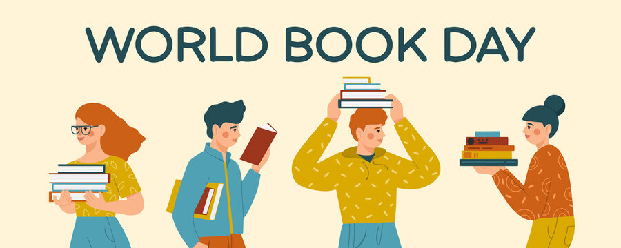 World Book Day. Group of young people reading books. Book lovers, fans of literature.  Flat vector illustration.
