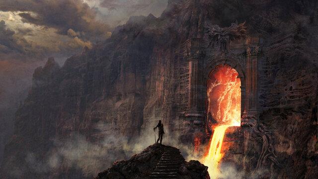 Hell gate fantasy art - digital illustration