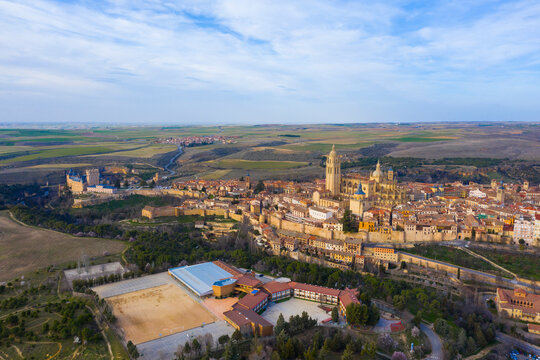 Aerial view of Segovia ancient city with its aqueduct