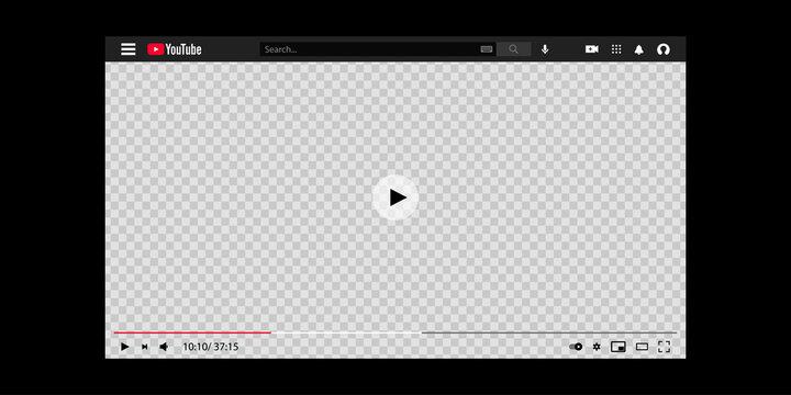 YouTube template. YouTube - online video-sharing platform. Vector illustration EPS 10. Kyiv, Ukraine - March 1, 2021