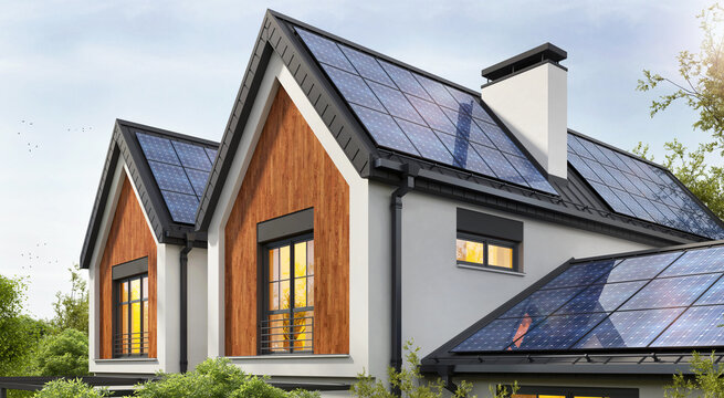 House with very efficient solar panels