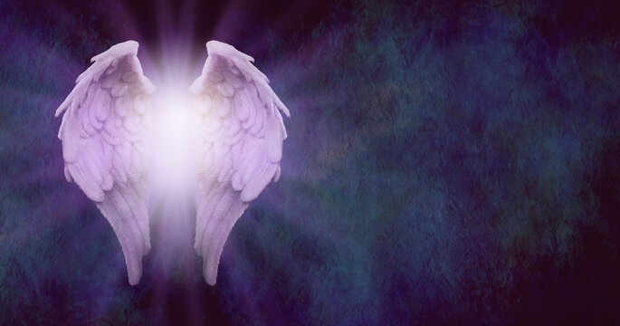 Rustic Angel Message Background - purple tinged angel wings with glowing light centre on a dark blue stone effect textured background with plenty of space for text