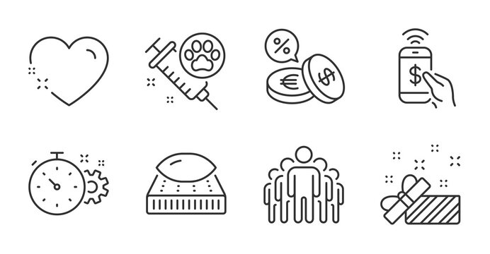 Group, Dog vaccination and Present line icons set. Heart, Mattress and Cogwheel timer signs. Currency exchange, Phone payment symbols. Managers, Pets medicine, Gift. Business set. Vector