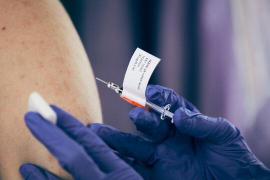 Close-up of coronavirus vaccination