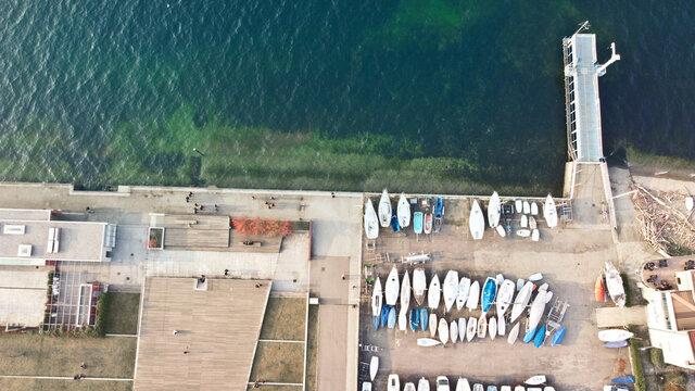 harbor in luino, italy