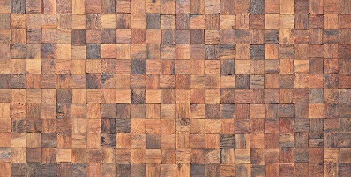 mosaic wood texture wall panel as background