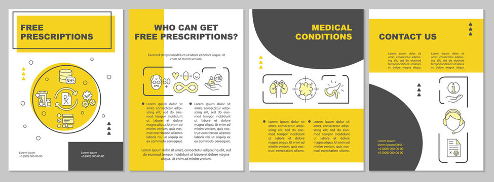 Free prescription service brochure template. Medical condition. Flyer, booklet, leaflet print, cover design with linear icons. Vector layouts for magazines, annual reports, advertising posters