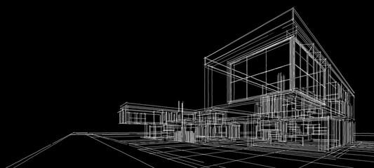 Obraz house architectural sketch 3d illustration - fototapety do salonu