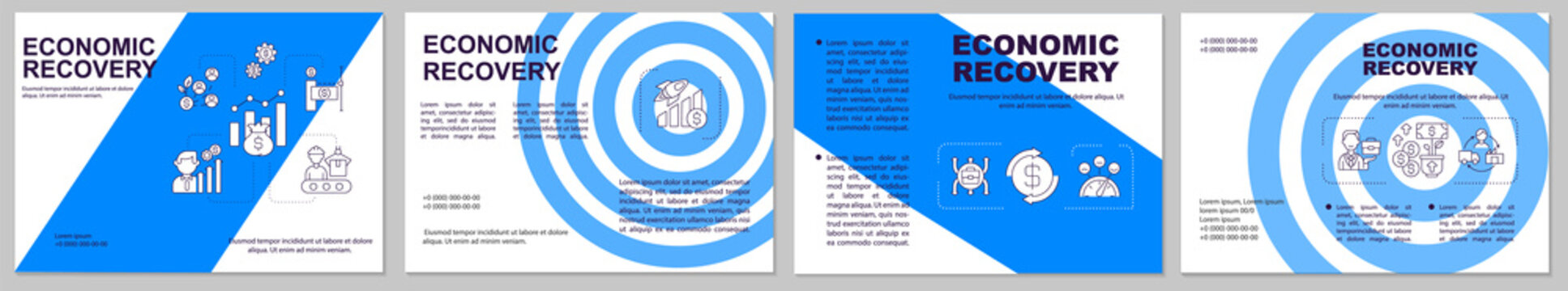 Economic recovery brochure template. Process of economic improving. Flyer, booklet, leaflet print, cover design with linear icons. Vector layouts for magazines, annual reports, advertising posters
