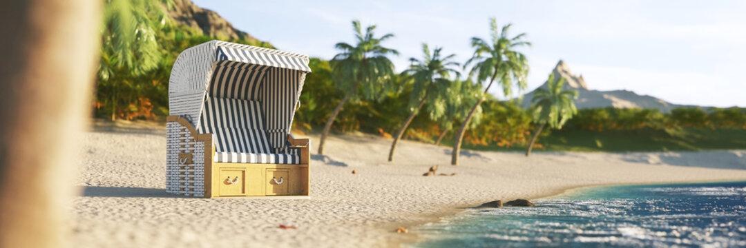 Leerer Strandkorb im Sommer auf Karibik Insel im Urlaub