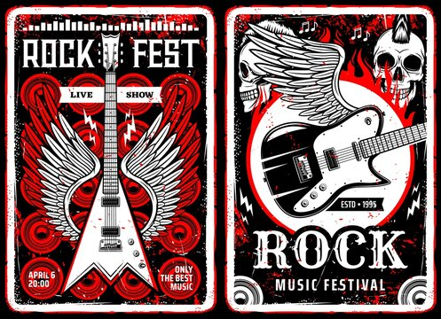 Hard rock music vintage flyers. Heavy metal live show retro posters template. Winged electric guitars, human skulls with punk mohawk hairstyle and spurts of flame engraved vector and typography