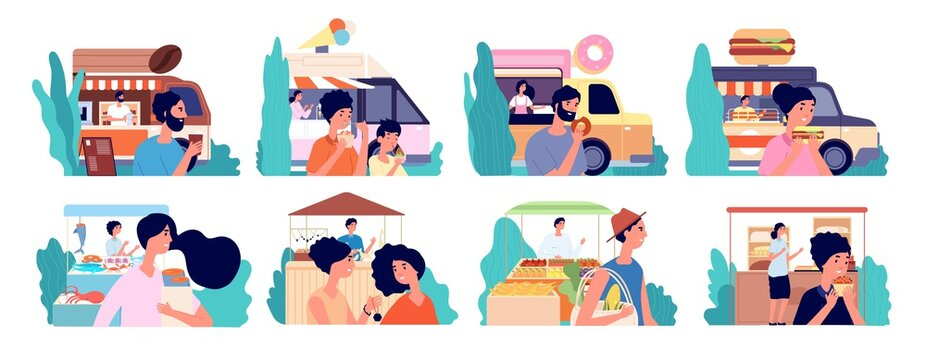 Small business. Cafe owner, coffee shop bakery local market. Flat happy customer eat food, street facade and buyers utter vector. Owner coffee shop or cafeteria, seafood market and fruit illustration