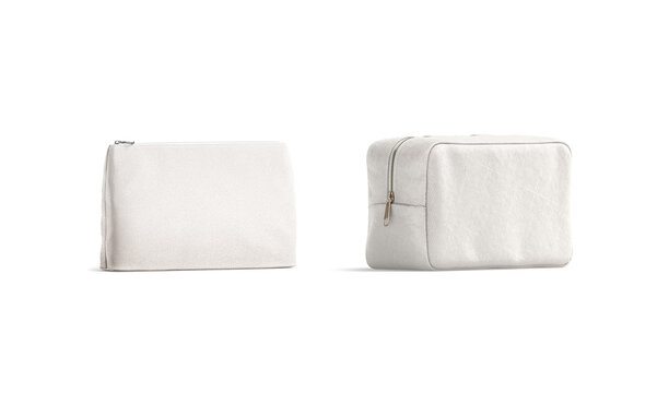 Blank canvas pouch and cosmetic bag mockup, half-turned view