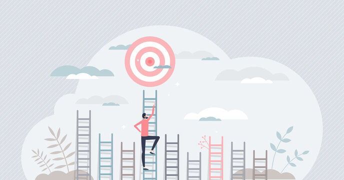 Aim to target and climbing stairs to reach business goal tiny persons concept