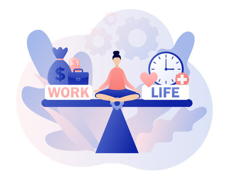 Work and life balance. Tiny woman sitting in lotus position and keep harmony. Choose between career and money versus love and time. Leisure or business. Modern flat cartoon style. Vector illustration