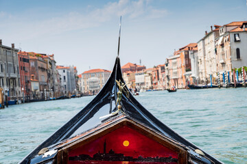 Panoramic view of Venice from the gondola in the Grand Canal