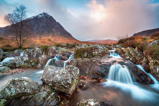 Beautiful waterfalls at Glen Etive