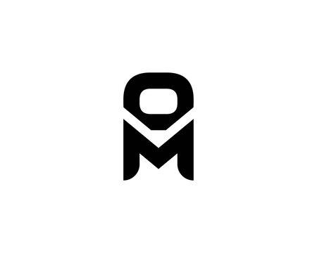 M OM MO letter logo design vector template