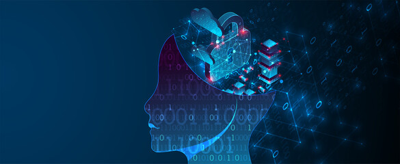 Artificial intelligence (AI) and big data concept. Machine cyber mind.  Technology vector background. - fototapety na wymiar