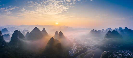 Guilin,Guangxi,China karst mountains on the Li River.Aerial view.
