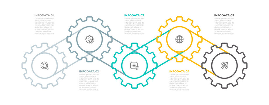 Business infographic template. Creative design with icon and cog elements. Timeline process with 5 options, steps, parts. Vector illustration.