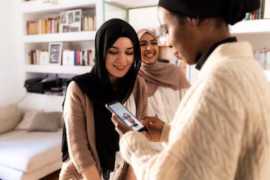 Female friends making facetime call