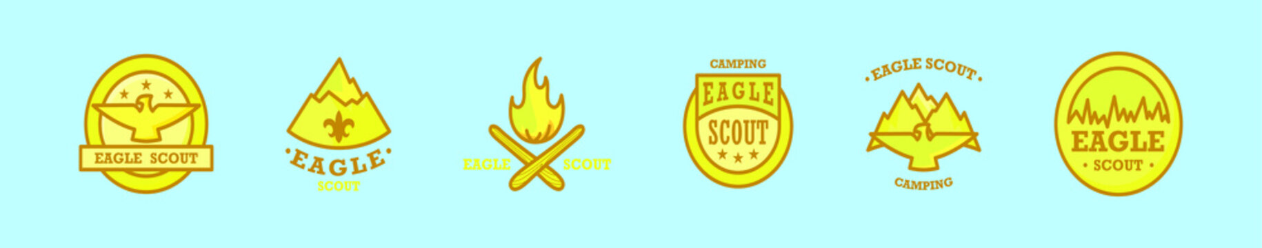set of eagle scout badge cartoon icon design template with various models. vector illustration isolated on blue background