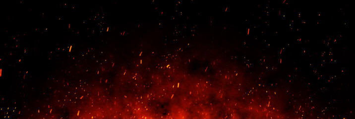 Wall Murals Fire / Flame Fire embers particles over black background. Fire sparks background. Abstract dark glitter fire particles lights.