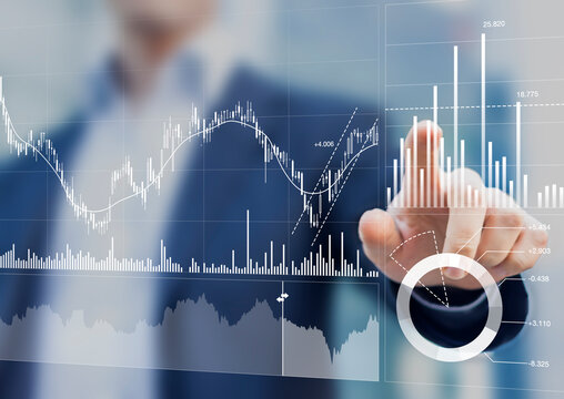 Financial portfolio and assets manager analyzing investment statistics and indicators on dashboard for trading products. Business and finance strategy. Data analytics for stock market investing.
