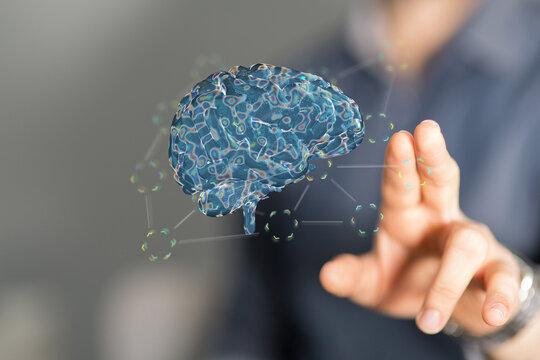 Creative background, the human brain on a blue background, the hemisphere