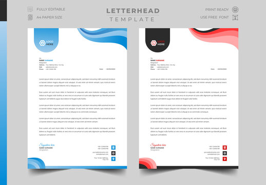 Business Letterhead Design Template for corporate and official use, blue, blue, red color variation.