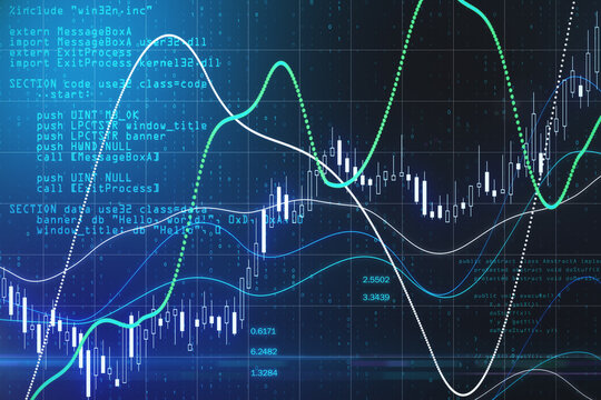 Stock market robot software with digital graphs, diagram and candlestick on abstract technology background