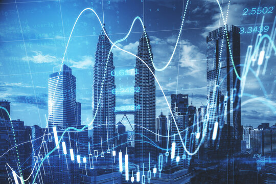 Stock market worldwide concept with financial chart with diagram and graphs at Kuala Lumpur skyscrapers background, Malaysia