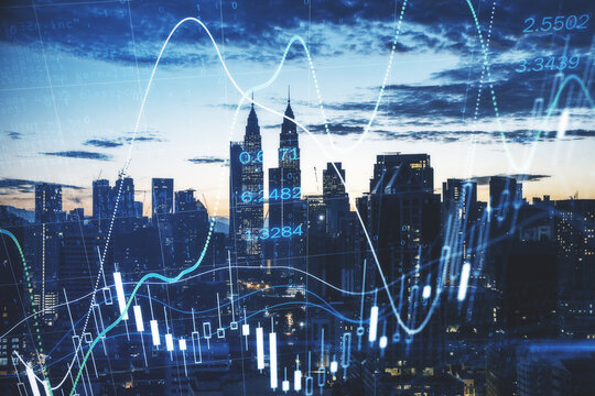 Stock market analysis concept with digital candlestick, graphs and diagram on Kuala Lumpur skyscrapers background, Malaysia