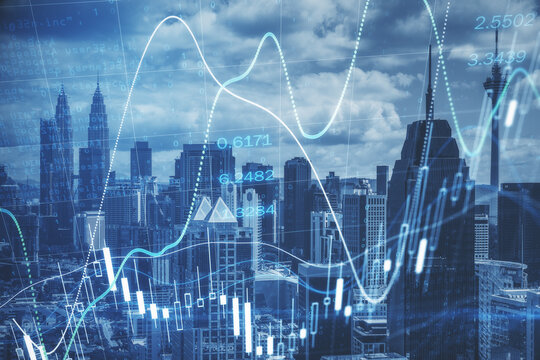 Forex market analytics concept with double exposure of digital stock market chart and Kuala Lumpur city, Malaysia