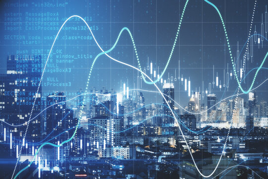 Global stock market concept with digital glowing financial diagram on night megapolis city background