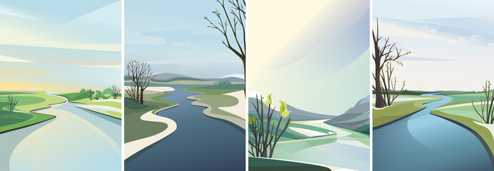 Collection of river landscapes. Beautiful spring sceneries in vertical orientation.