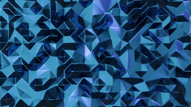 Metal blue abstract luxury 3d rendering. Abstract low poly background.