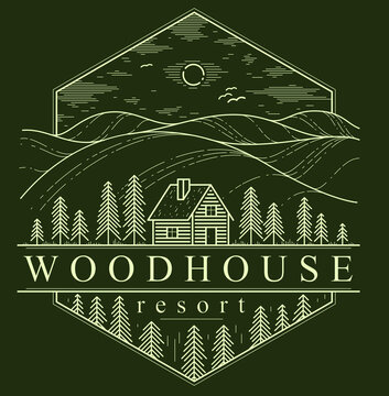Cabin in grasslands and meadows with pine trees linear vector nature emblem on dark, log cabin cottage for rest, holidays and vacations theme line art drawing, woodhouse resort logo.