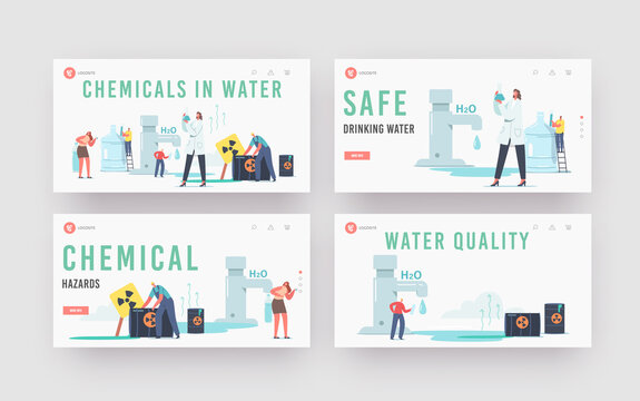 Chemicals in Water Landing Page Template Set. Tiny Scientist Female Character Hold Beaker Research Water Sample in Lab