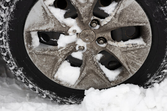Russia Vyborg 02.03.2021 car in the snow. close-up wheel