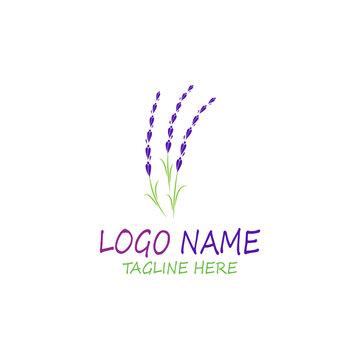 lavender floral aromatic logo vector icon illustration design