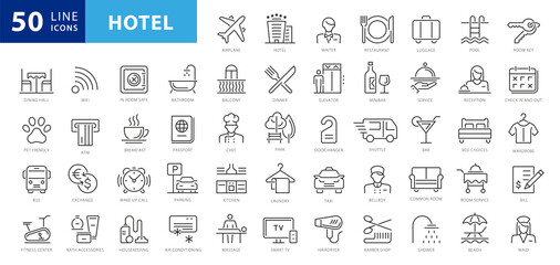 Obraz Hotel elements - thin line web icon set. Outline icons collection. Simple vector illustration - fototapety do salonu