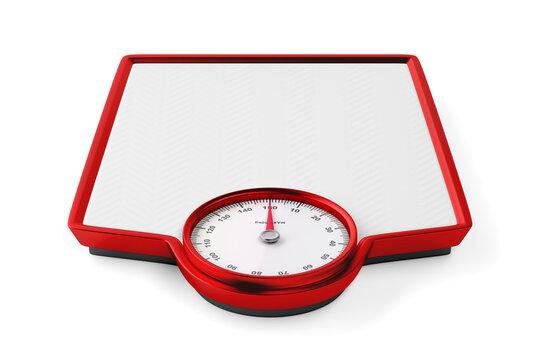 Analog weight scale on white background