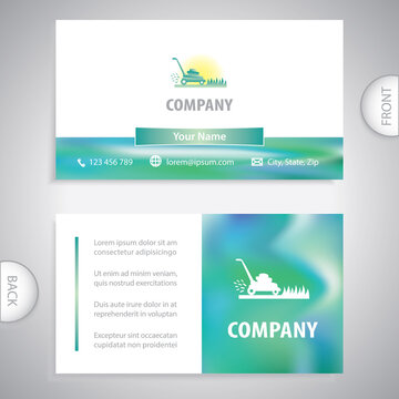 Business card template. Symbol lawnmower cutting green grass. Lawn mowing service. Concept for gardening work.